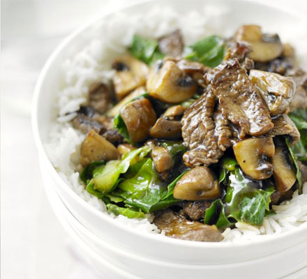 Beef, mushroom and greens stir fry